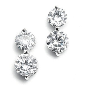 Mariell Double Rounds Cubic Zirconia Wedding Earrings 531e