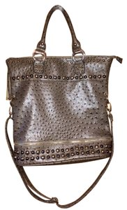 Studded Faux Leather Tote in Taupe