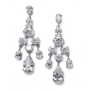 Mariell Silver Cz Chandelier with Pears and Rounds 671e Earrings