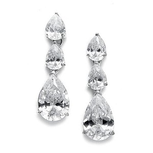 Mariell Cubic Zirconia Triple Pears Drop Bridal Earrings 685e