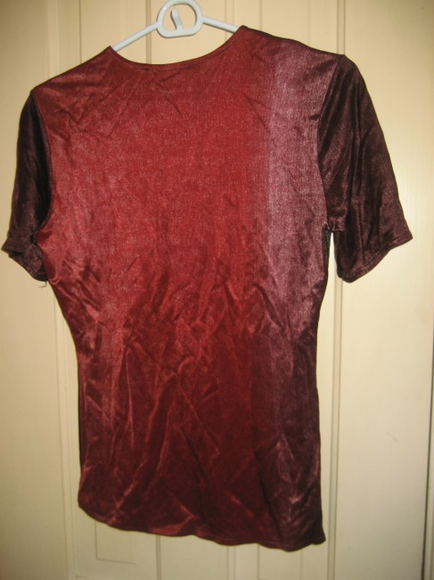 Patric Roth Silk Silk Shirt Silk Tee Top Red and purple