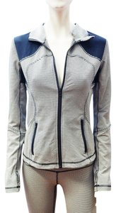 Lululemon NEW LULULEMON FORME JACKET CUFFINS YOGA ATHLETIC ZIP NAVY BLUE WHITE CHECKERED S