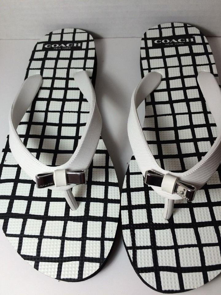 f4b8ca67b89d Coach White Black Amel and Square Checkered with Silver Metal Bow Flip Flops  In Flats Size US 7 Regular (M