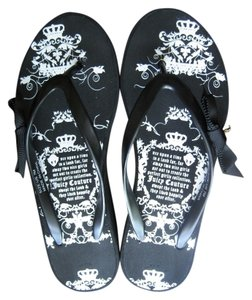Juicy Couture Wedge Charm Comfortable white black Sandals