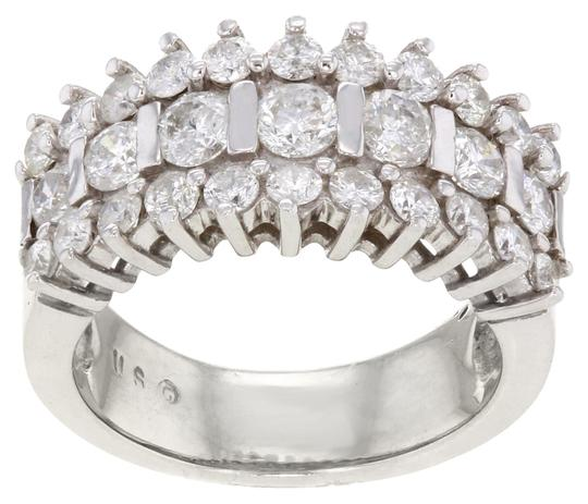 Other 14K White Gold apx. 3.0 CTW Round Cut Diamond Size 7 Women's Cocktail Ring