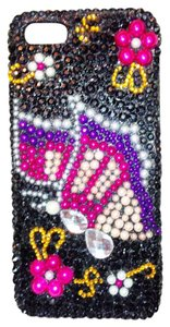 Luxem iPhone 5 Black & Multi Colored Rhinestones Butterfly Design phone cover