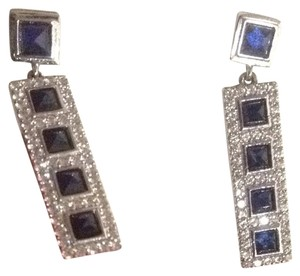 CRISLU Sterling Platinum and Safire Earrings