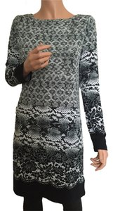 Michael Kors Long Sleeve Animal Print Boat Neck Dress