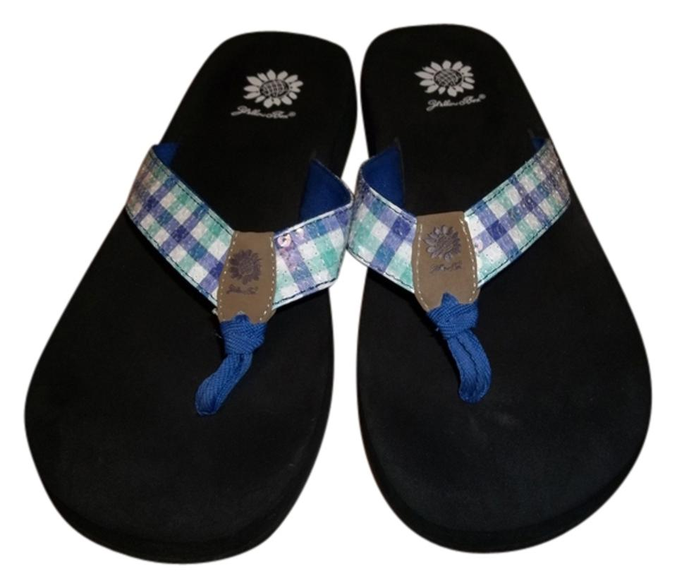 bf6b8fcf2f8 Yellow Box Blue Mint and White Sequin Plaid Flats Size US 10 Regular ...