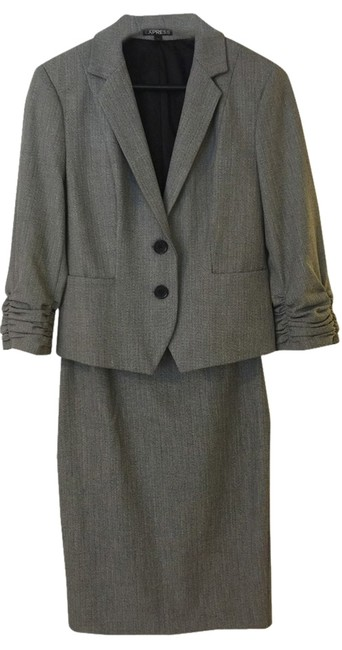 Express Grey Midi 1/4 Sleeve Suit With Belt