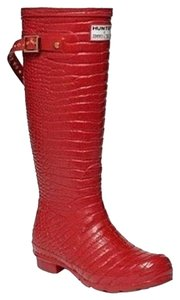 12ee43eba235 Hunter Jimmy Choo Collab Rare Limited Edition Rain Welly Wellie X Croc  Embossed Leopard Tall Red