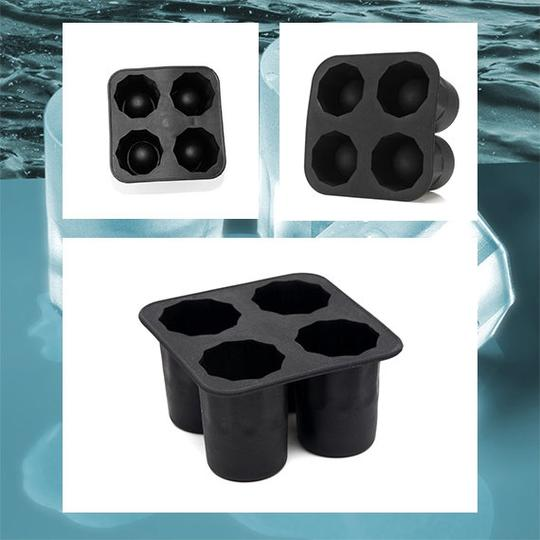 Black - 4-cup Ice Cube Shot Glass Shape Rubber Shooters Glass Freeze Mold Maker Tray Party