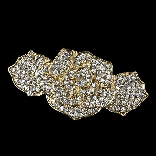 Gold Dainty Light Rose Special Occasion Barrette Hair Accessory