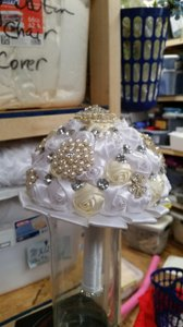 White And Ivory Bling Pearl Satin Rose Bouquet