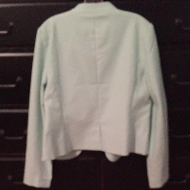 Ann Taylor LOFT Aqua And Cream Tiny Dots With Aqua Lining. Jacket