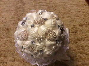 Pearl Rhinestones Ivory Satin Wedding Bouquet