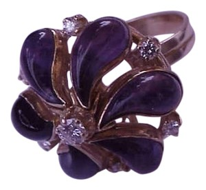 18k yellow gold ring with 1.00ct diamonds and 10.00ct genuine Amethysts filigree ring