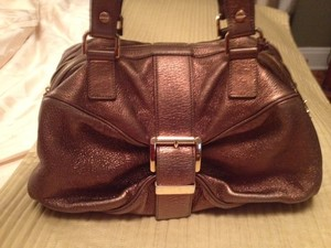 Michael Kors Collection Handcrafted Leather Gold-plated Satchel in Golden/Bronze