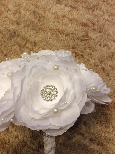 White Price Reduced = and Pearl Bridal Bouquet Ceremony Decoration