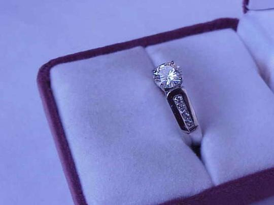 Other Vintage 1.25 cttw Solitaire Moissanite and Diamond 14k white gold ring