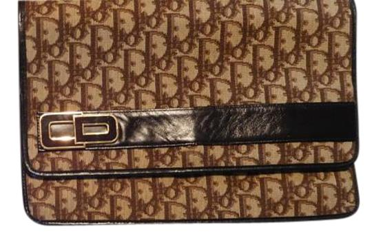 Dior Vintage Fabric Leather Looks New BROWN WITH TRADITIONAL LOGO Clutch
