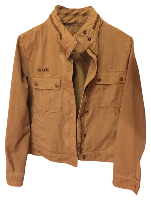 J.Crew Cargo Studded Hooded Casual Snap Khaki Jacket