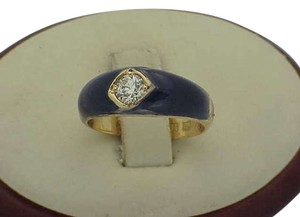 Vintage Antique vintage Victorian .50ct Solitaire Diamond Ring with 18K Yellow Gold Blue Enamel