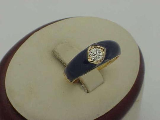 Vintage Victorian .50ct Solitaire Diamond 18K Yellow Gold Blue Enamel Ring