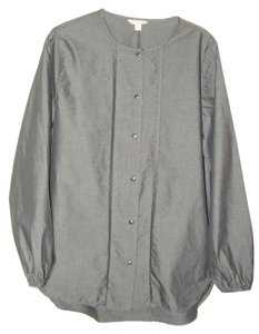Gap Tall Size Cotton Button Front Button Down Shirt Black Chambray
