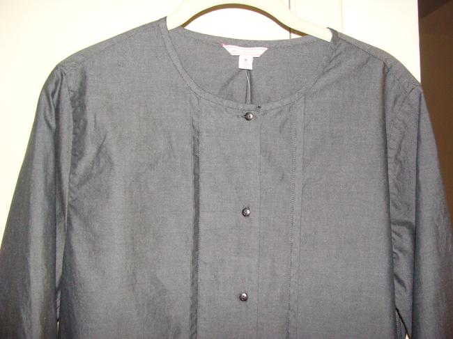 Gap Tall Size Cotton Button Front Oxford Shirt Mandarin Collar Button Down Shirt Black Chambray