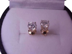 $7700 1.00ct Solitaire Diamond 14k Yellow Gold Studs