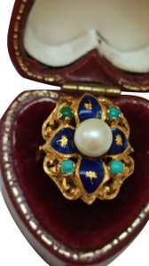 Other Art Deco Blue Enamel 750 18k Yellow Gold Pearl Turquoise Ring