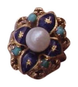 Vintage Vintage Victorian blue enamel 750 18k yellow gold pearl and turquoise ring
