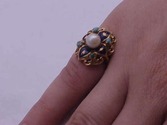 Other Vintage Victorian blue enamel 750 18k yellow gold pearl turquoise ring
