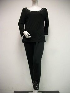 Usindo Black Knit Jeweled Top Pants Set Outfit Silver With Tags