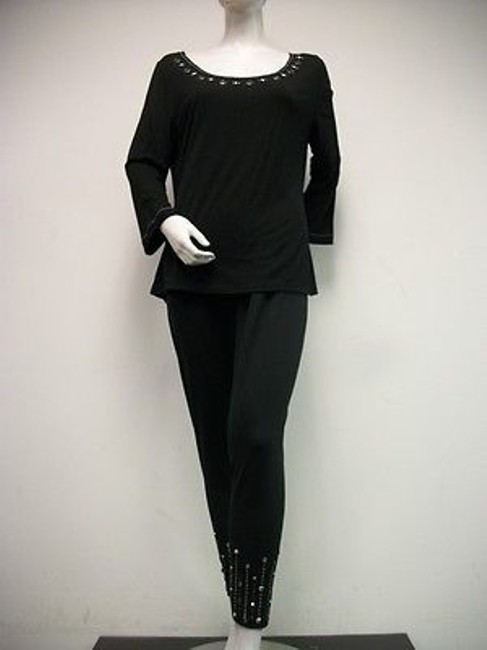 Other Usindo Black Knit Jeweled Top Pants Set Outfit Silver With Tags