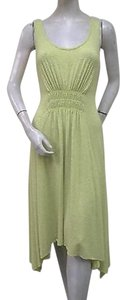 Green Maxi Dress by People Like Frank Striped Gray Asymmetrical Hem Racerback