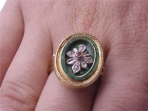 Victorian 750 18k Yellow Gold Genuine Ruby and Diamond Green Enameled Ring , Amazing!
