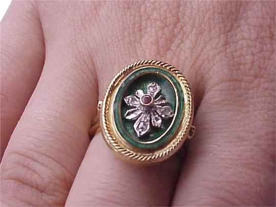 Other Victorian 750 18k Yellow Gold Genuine Ruby and Diamond Green Enameled Ring , Amazing!