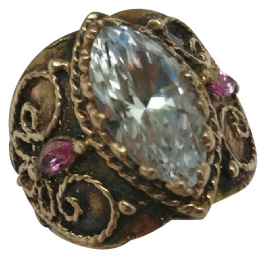 Preload https://item2.tradesy.com/images/yellow-antique-enamel-genuine-white-topaz-pink-sapphire-14k-gold-ornate-ring-305366-0-2.jpg?width=440&height=440