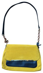 Urban Oxide Mustard Suede Black Pleather Zipper Snap-closure Pockets Gold Chain Cross Body Bag