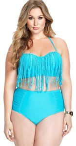 Forever 21 Forever 21 Plus Turqoise Blue Festive Fringe Bikini Set 2pc Swimsuit 1X