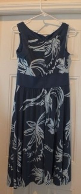 BCBG Paris short dress Medium Blue with Light Blue Floral Print Comfortable Flattering on Tradesy