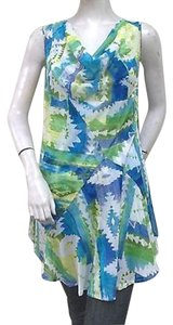 Lynn Ritchie Blue Green Tribal Aztec Print Draped Neck 8769 Tunic
