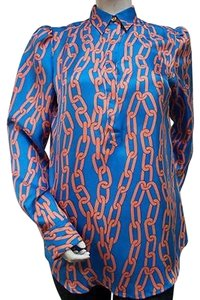 Julie Brown Silk Orange Top Blue