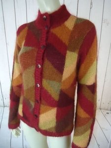 Talbots Mohair Blend Buttondown Cardigan Geometric Print Sweater