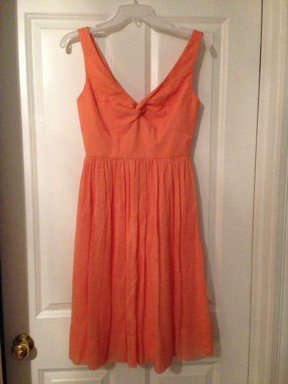 J.Crew Coral Silk Chiffon 10045 Feminine Bridesmaid/Mob Dress Size 2 (XS)