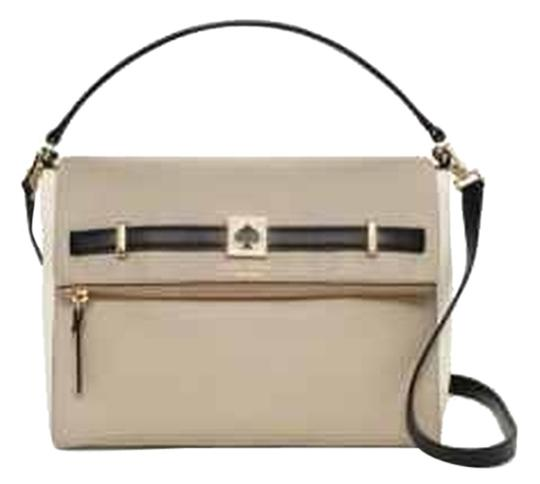 Kate Spade Mari Maria Tan Beige Leather Black White Designer Crossbody Michael Ks Limited Edition Satchel in Multi