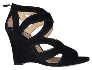 Miu Miu Suede Zipback Strappy Never Worn Size 41/11 Barneys Black Wedges