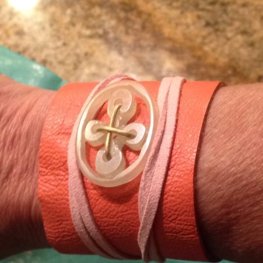 Other Butter Soft Coral Leather Wrap Bracelet